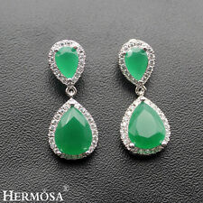 925 Sterling Silver Top Quality Earrings 75% Off Hermosa Origin Green Emerald
