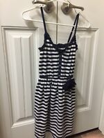 Hollister Womens Striped Dress White/navy XS