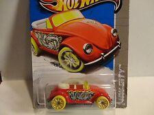2013 Hot Wheels #40 Red VW Beetle w/Yellow Wheels