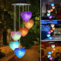 Solar Powered Color Changing Heart Wind Chimes Home Garden Yard Decor Light Lamp