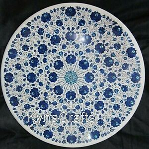 """Lapis Lazuli Stone Inlay Work Dining Table Top White Marble Hallway Table 48"""""""