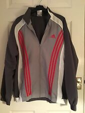 """MENS ADIDAS ZIP UP JACKET SIZE 38/40"""" CHEST GREY / RED / WHITE"""