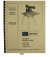 Sears Craftsman 113.197602  10 inch Radial Arm Saw Op & Parts Manual #1502