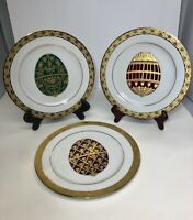 "3  MUIRFIELD CHINA CELEBRITY Egg PLATES 8 1/2"" FABERGE EGGS Gold ENCRUSTED 9408"
