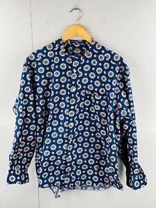 Dockers Levi's Men's Vintage Long Sleeve Collarless Casual Shirt Size M Blue