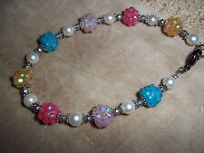 Handmade 8.5 in Crystal, WHITE Pearl and Tibetan Silver Bead BRACELET Z-07