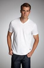 Hugo Boss Black Label Regular Fit Pima Cotton V-Neck T-Shirt Size Medium M White