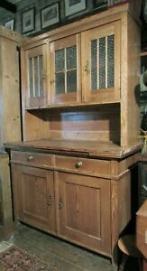 Antique Early 20th Century pine DRESSER kitchen larder cupboard glazed top