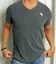 mens - ABERCROMBIE & FITCH shirt - L - MUSCLE - V-NECK - GRAY - MOOSE