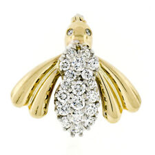 Petite 14k Yellow White Gold .75ct Ideal Round Diamond Fly Bee Insect Brooch Pin