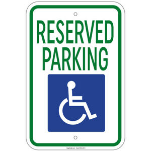 """Reserved Parking with Handicapped Symbol 8""""x12"""" Aluminum Signs"""