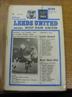 02/10/1971 Leeds United v West Ham United  (token removed, creased). Footy Progs