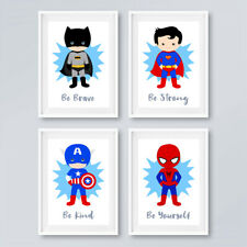 Superhero Prints Set Childrens Boys Bedroom Wall Art Nursery Decor Pictures Gift