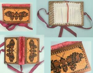 Antique Tunbridge Ware Butterfly Needle Book * English * Circa 1860
