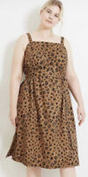1X Women's Plus Size Leopard Print Brown Sleeveless Sun Dress With Belt Ava Viv