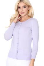 YEMAK Women's 3/4 Sleeve Crewneck Button-Down Basic Cardigan Sweater CO079 (S-L)