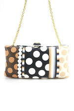 Ronnie Kirsch Womens Textured Polka Dot Striped Clutch Handbag Black Tan White