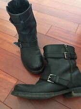 ASOS $200 Motorcycle Buckle Zipper Strap Black Leather Ankle Boots 8