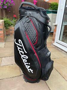 Titleist Jet Black Premium Stadry Waterproof Golf Cart Bag 15 Dividers MINT