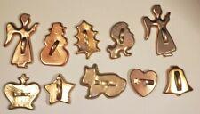 Vintage Copper Metal Cookie Cutter Lot of 10 Lion-Bell-Angel-Star-Snowman-Dog
