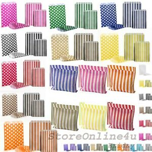 Candy Stripe Paper Bags Gift Shop Party Buffet Weding Cake Sweet Treat Coloured