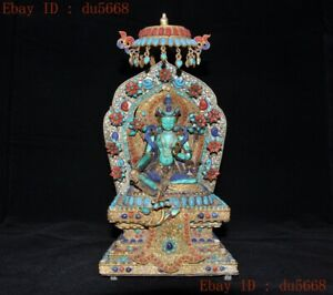 "11""Tibet silver Filigree Inlay turquoise Gilt green tara Kwan-Yin Buddha statue"