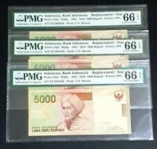 2001/2006 BANK INDONESIA 5000 RUPIAH X 3, CONSECUTIVE REPLACEMENT, PMG 66EPQ