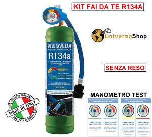 GAS R134A REFRIGERANTE BOMBOLA 1 LT 900 GR NETTO CON MANOMETRO CLIMA PER AUTO