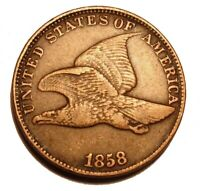 OLD US COINS 1858 Flying Eagle Cent  LL Penny HIGHGRADE DETAILED BEAUTY
