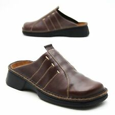 NAOT Ladies 37 (about 6.5 US) Brown Leather Slip on Mules Open Back Clogs Israel