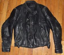 Blouson moto en cuir noir Vintage année 80's Taille M