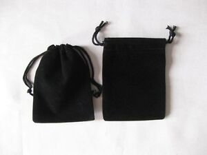 """lot of 25 50 100 Black 2""""x 2.5"""" Jewelry Pouches Velvet Gift Bags Wedding Favors"""