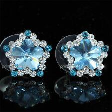 Aqua Blue Flower Stud Earrings use Swarovski Crystal SE529