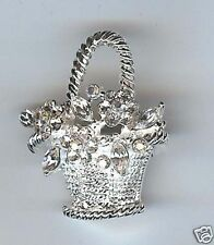 Crystal Flower Basket Brooch/Pin-Clear AB