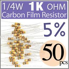 50 pcs Carbon Film Resistors 1/4W 0.25W 0.25 Watt 1000 Ohm 1KOhm 1K Ohm +/-5%
