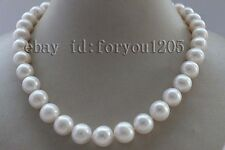 "18"" Genuine Natural 12-14mm White Round Pearl Necklace 925silver clasp #f2131!"