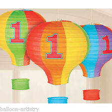 3 Rainbow Colours 1st Birthday Party Hot Air Balloon Paper Lantern Decorations