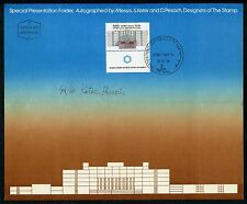 ISRAEL 1978 MEICAL CENTER FOLDER AUTOGRAPHED BY DESIGNER AND FD CANCELLED