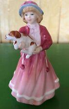 ROYAL DOULTON LADY MY FIRST FIGURINE No. HN 3424  YOUNG GIRL AND DOG PINK DRESS