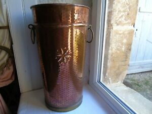 French copper / brass vase wall hammered  vintage decoration projects