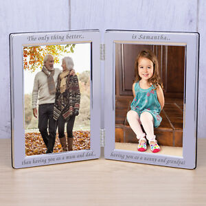 Grandparents Silverplated Double Photo Frame 6x4 - Personalised New Baby