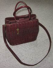 Fossil Vintage Brown Leather Basket Weave Purse Shoulder / Satchel Bag
