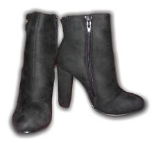 Ladies Ankle Heeled Boots Faux Suede LS0034 Black Sizes 3-8