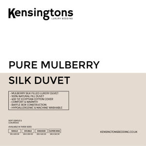 Kensingtons® 100% Mulberry SILK Filled Duvet Quilt All Seasons Anti Allergenic