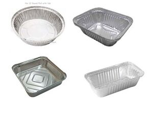 Aluminium Silver Foil Food Containers & Heavy Duty Lids Small/Medium/Large/Round