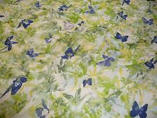 VISCOSE GEORGETTE BUTTERFLY PRINT-NAVY/GREEN/YELLOW- DRESS FABRIC -3.6 METRES