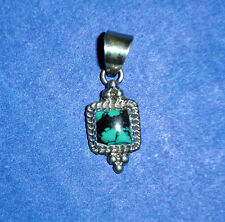 """Pendant Approx. 1/2"""" Sq. Southwestern Jewelry Handmade Turquoise/Ss"""