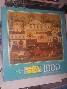 """Wysocki Americana """"Old Main Street"""" 1000 piece 23"""" x 26"""" puzzle MB Hasbro 2000"""