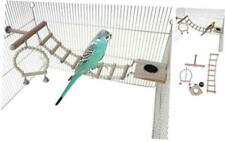 Zaryieeo Bird Perches Cage Toys 4Pcs Set, Bird Cage Chewing Toys with Feeding Cu