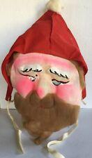 Vintage Santa Claus Mask Costume Hand Painted Molded Screened Face Felt Hat